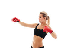 Fitness healthy women boxing in studio isolated Royalty Free Stock Image