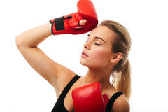 Fitness healthy women boxing in studio isolated Stock Image