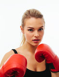 Fitness healthy women boxing in studio isolated Royalty Free Stock Photo