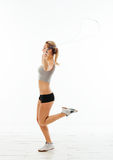 Fitness healthy women exercise in studio isolated Royalty Free Stock Photos