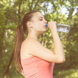 Fitness Healthy Young Woman Drinking Water Royalty Free Stock Photo