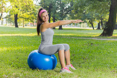 Fitness Healthy Young Woman Exercise With Pilates Ball Outdoor Royalty Free Stock Images