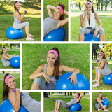 Fitness Healthy Young Woman With Pilates Ball Outdoor Royalty Free Stock Photography