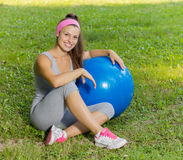 Fitness Healthy Young Woman With Pilates Ball Outdoor Stock Photography