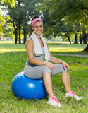 Fitness Healthy Young Woman With Pilates Ball Outdoor Stock Photo