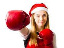 Fitness holiday christmas girl. Boxing day Stock Photos