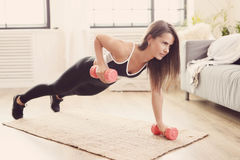 Fitness at home. Sport and body care. Fitness at home royalty free stock images