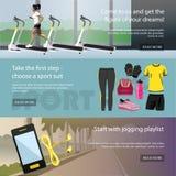 Fitness horizontal banners set. Sport equipment Royalty Free Stock Photo