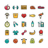 Fitness icon. Flat icons set of fitness, sport and healthy lifestyle: exercise, diet, food, supplements, well-being, human body. Modern design style vector vector illustration