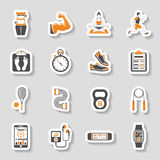 Fitness Icon Sticker Set Royalty Free Stock Images