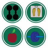 Fitness icon symbols. �1 Royalty Free Stock Image