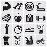 Fitness icons. Vector black icons on fitness Stock Images
