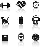 Fitness icons. Set of nine black fitness icons with shadow Stock Image