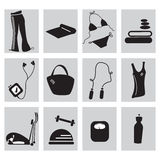 Fitness icons. Fines twelve icons in black and white Vector Illustration