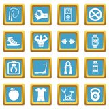 Fitness icons azure. Fitness icons set in azur color isolated vector illustration for web and any design Royalty Free Stock Photos