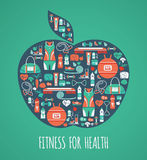 Fitness Icons background in apple shape Stock Photo