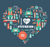 Fitness Icons background in heart shape.  I love fitness Stock Images
