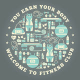 Fitness Icons background in round shape. Stock Image