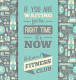 Fitness Icons background with typography. Royalty Free Stock Photo