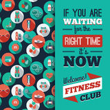 Fitness Icons background with typography. Royalty Free Stock Images