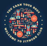 Fitness Icons background Stock Images