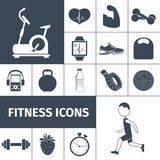 Fitness icons black set. Fitness workout equipment and healthy life style activities and accessories black icons set  abstract isolated vector illustration Royalty Free Stock Images