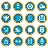 Fitness icons blue circle set. Isolated on white for digital marketing Stock Images