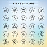 Fitness icons. Collection of 25 fitness icons Stock Images