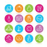 Fitness icons. Collection of 16 fitness icons in colorful buttons royalty free illustration