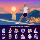 Fitness Icons Collection. Fitness flat icons collection with running man, sport app, diet nutrition, gym, exercise equipment isolated vector illustration Stock Images