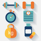 Fitness icons-flat design. vector Stock Photography