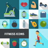 Fitness icons flat shadow set. Fitness health life style activities and accessories flat icons set with stationary bicycle abstract isolated vector illustration Royalty Free Stock Photo