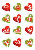 Fitness icons heart shape Stock Photos