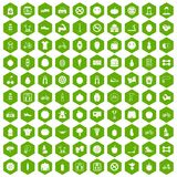 100 fitness icons hexagon green. 100 fitness icons set in green hexagon isolated vector illustration Royalty Free Stock Image