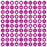 100 fitness icons hexagon violet. 100 fitness icons set in violet hexagon isolated vector illustration royalty free illustration