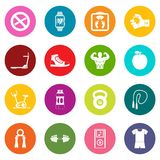 Fitness icons many colors set. Isolated on white for digital marketing Royalty Free Stock Photos