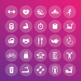 25 fitness icons pack, gym, workout, exercises. Training vector pictograms Stock Images