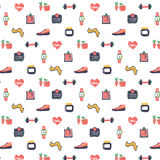 Fitness icons pattern design. Freehand drawing vector illustration Stock Photography