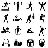 Fitness icons, people exercising Royalty Free Stock Image
