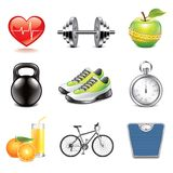 Fitness icons photo-realistic vector set. Fitness and health icons high detailed vector set Royalty Free Stock Photography