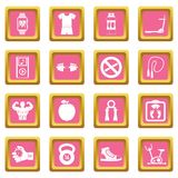 Fitness icons pink. Fitness icons set in pink color isolated vector illustration for web and any design Stock Photo