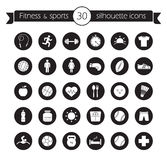 Fitness icons set. Black Stock Photo