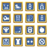 Fitness icons set blue. Fitness icons set in blue color isolated vector illustration for web and any design Stock Images