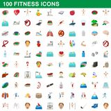 100 fitness icons set, cartoon style. 100 fitness icons set in cartoon style for any design illustration stock illustration