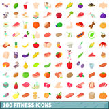 100 fitness icons set, cartoon style. 100 fitness icons set in cartoon style for any design vector illustration vector illustration