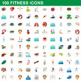 100 fitness icons set, cartoon style. 100 fitness icons set in cartoon style for any design vector illustration royalty free illustration