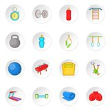 Fitness icons set, cartoon style. Fitness icons set. Cartoon illustration of 16 16 fitness vector icons for web vector illustration