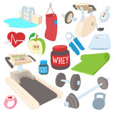 Fitness icons set, cartoon style. Fitness icons set in cartoon style isolated on white background Stock Image