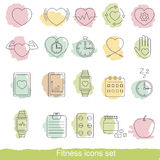 Fitness icons set. Collection fitness icons in thin line style Royalty Free Stock Photos