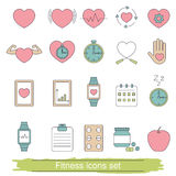 Fitness icons set. Collection fitness icons in thin line style Royalty Free Stock Photography